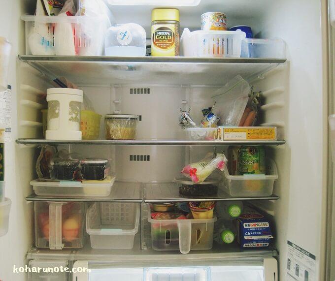冷蔵庫内を収納ケースを使って整理