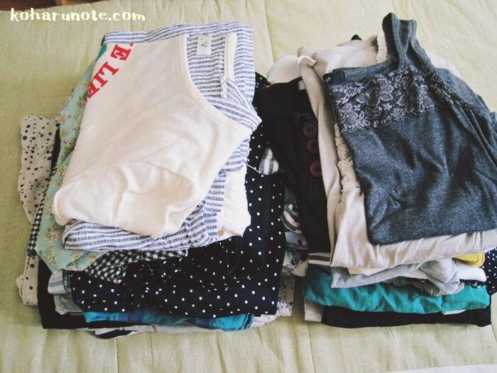 断捨離した夏物の衣類