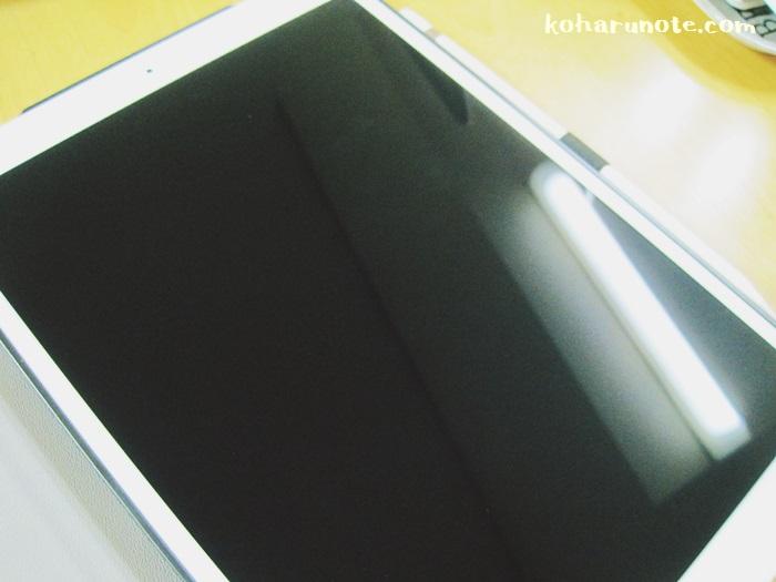 画面保護フィルムを貼ってない状態のiPad Proの画面