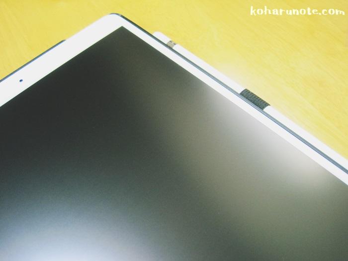 アンチグレアフィルムを貼ったiPad Proの画面