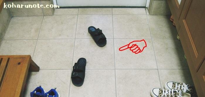 靴を揃えず入ってきたままの玄関