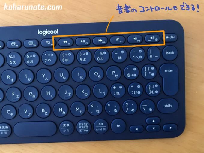 「K380」の音楽コントロールキー