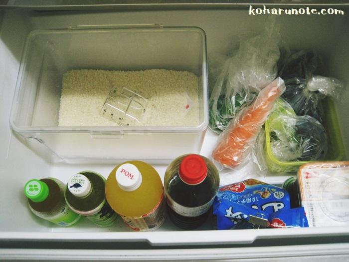 冷蔵庫の野菜室に米びつを保管