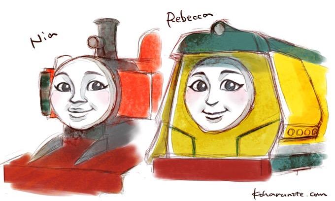 きかんしゃトーマスの新しいキャラクターのニアとレベッカ